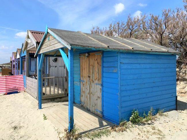 Colourful beach hut at West Wittering Beach
