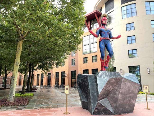 Captain Marvel statue Disneyland Paris