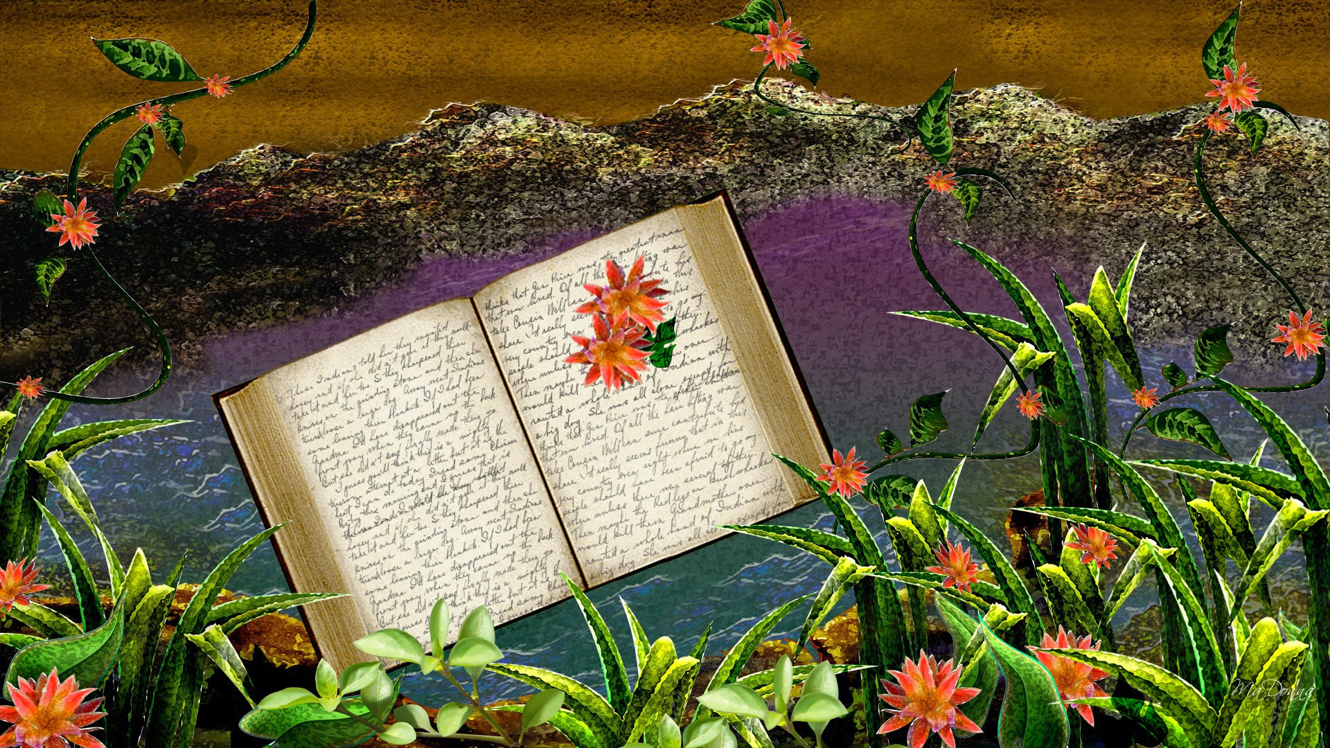 open book in flowers with purple background