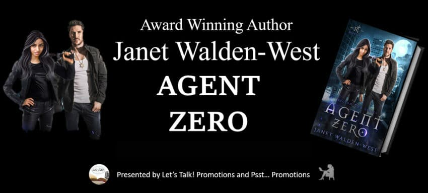 banner for Agent Zero by Janet Walden-West with two people and cover of book