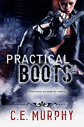 Book cover, Interview with C.E. Murphy About Practical Boots; red haired woman crouches with gun