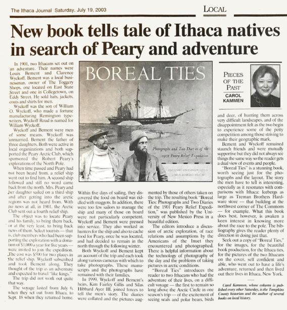 Ithaca Journal - Boreal Ties Article