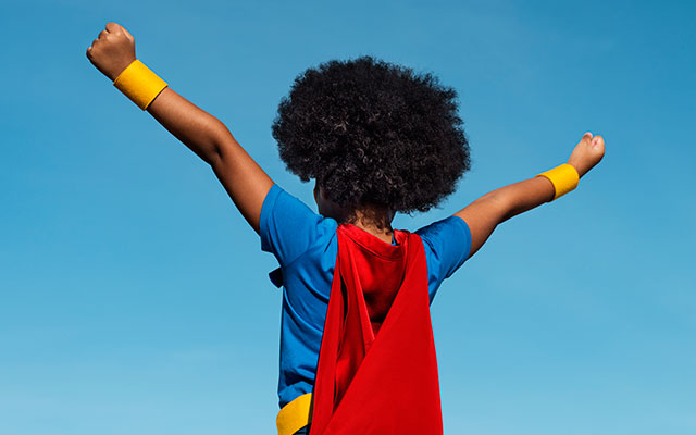 young african american super hero