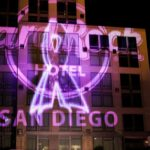 Hard Rock Hotel Exterior Building Projection Mapping Close Up of Logo