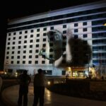 Wildhorse Projection Mapping on Exterior of Building Wild Active Fish