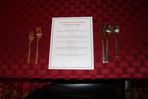Anderson's 27th Wedding Anniversary Dinner Menu