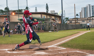 Nicholas Clark, a retired U.S. Soldier and a member of the Wounded Warrior Amputee Softball Team hits a ball during a game
