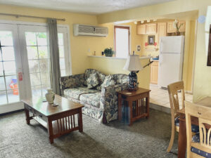 The large living space of Suite 2, featuring a kitchenette, separate living room with a fireplace, sofa and coffee table.