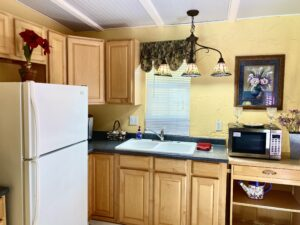 the kitchenette of Suite 8 with a large fridge, sink, microwave and Keurig Coffeemaker.