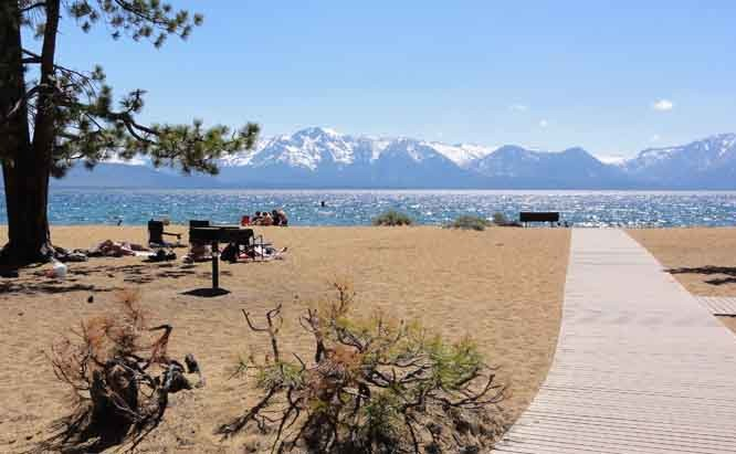 Bike paths and bike trails to Nevada Beach Lake Tahoe