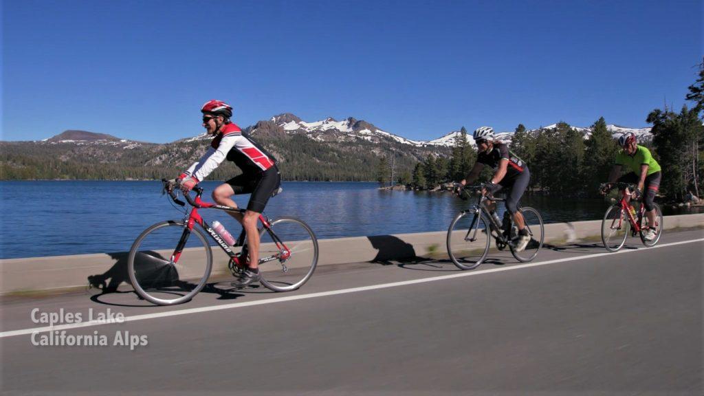 Death Ride: Road Bike Riding along Caples Lake near Kirkwood, CA