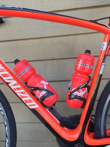 Water can be easily carried using water bottles stored on the bike frame.