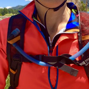 Hydration daypack is a convenient way to carry water and be able to drink while riding.