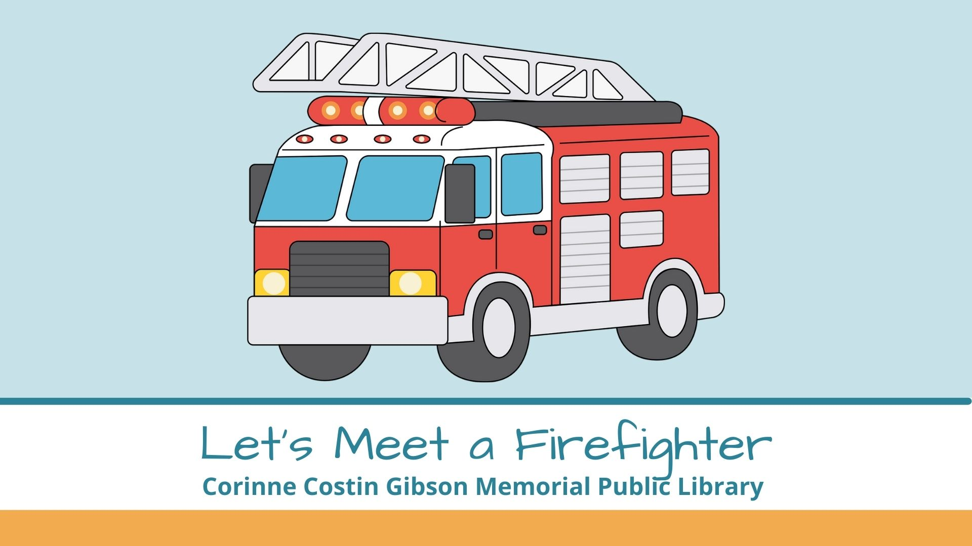 Image of a firetruck for the Let's Meet a Firefighter program.