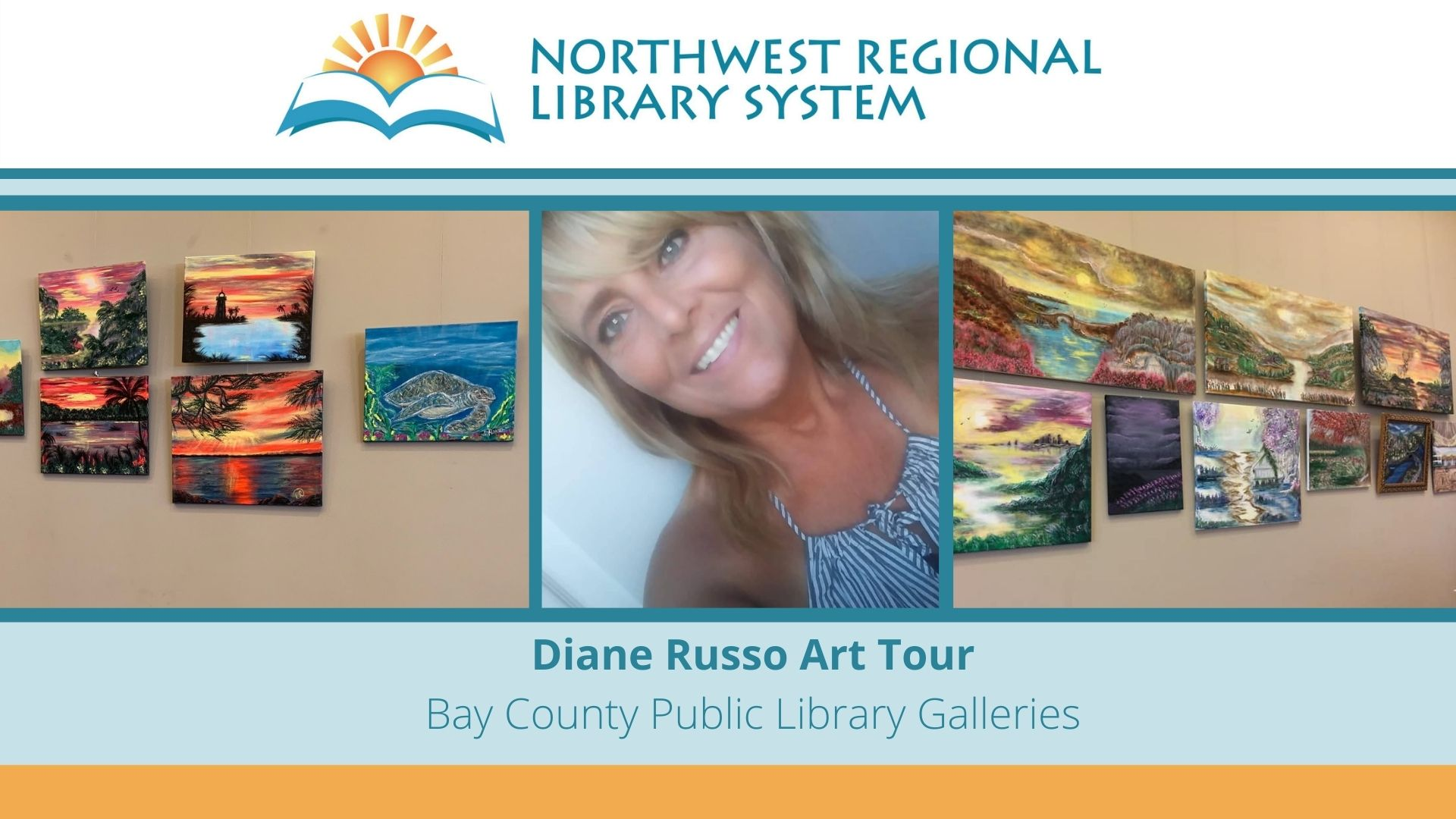 Photograph includes Diane Russo in the center and two images of her landscape paintings in acrylic