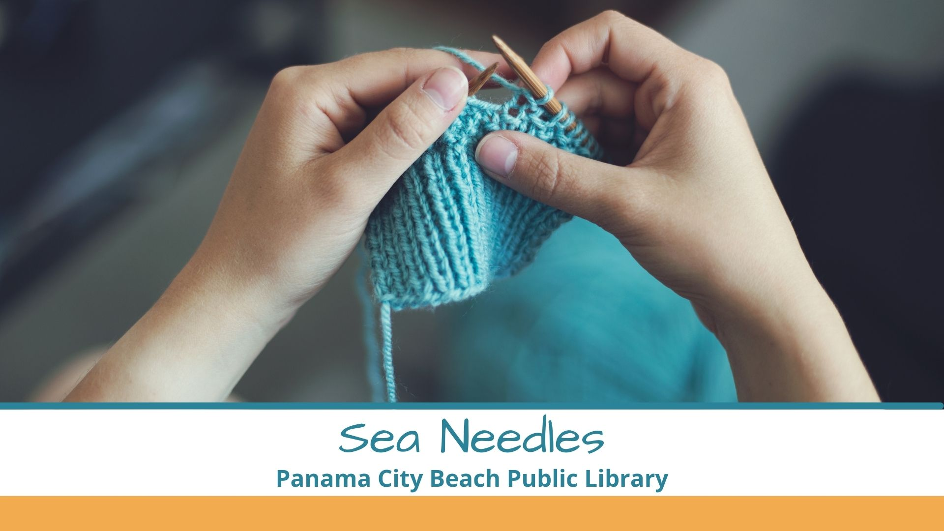 Photograph of a woman's hands knitting something teal green for Sea Needles club