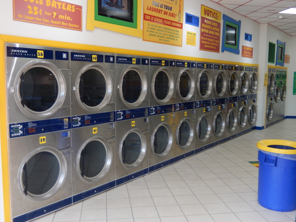 30 lb stacked washing machines at Laundromania in North Liberty, Iowa