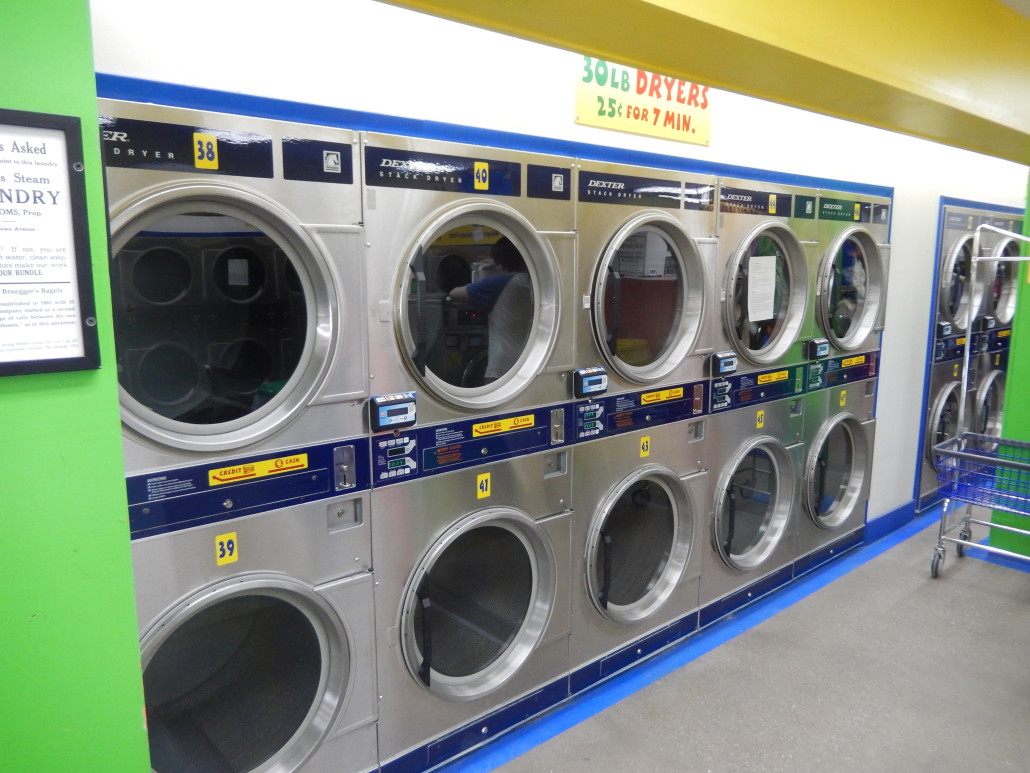 30lbs Stacked dryers at Bloomington Street Laundromania downtown Iowa City