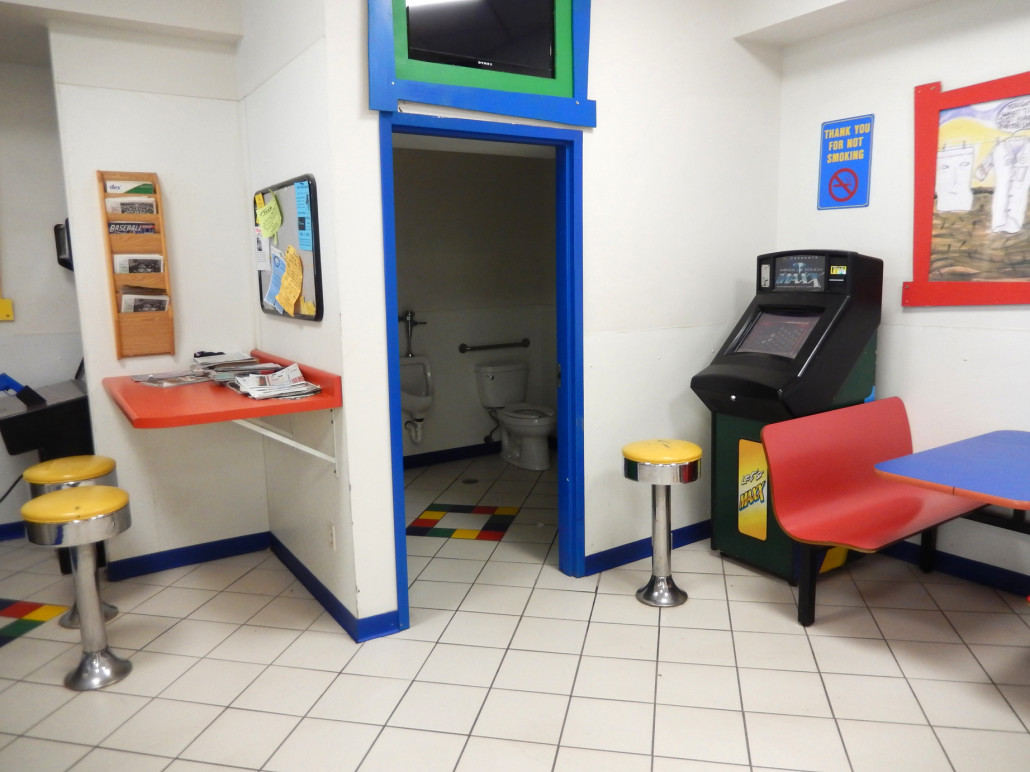 Bathroom and games at Laundromania at sycamore mall in Iowa City