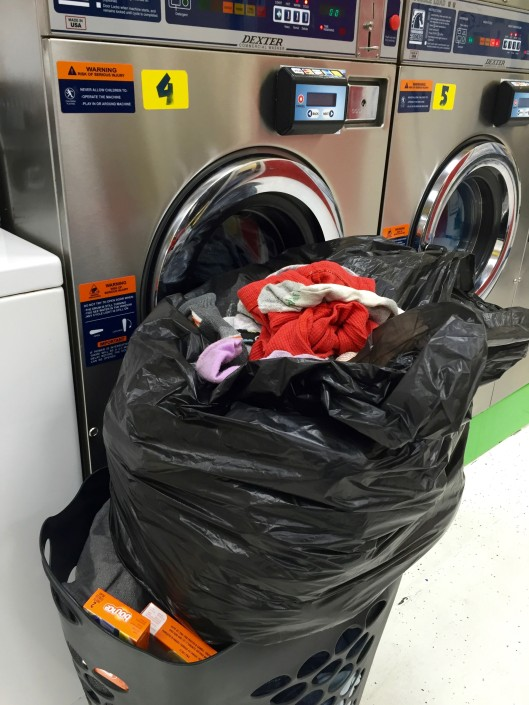 Bags of Laundry to be washed at Laundromat in Iowa