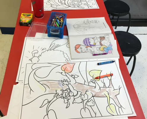 Kids drawings at the free laundry event on Wednesday March 2nd at Laundromania in Davenport, Iowa