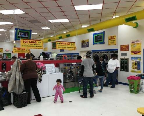 Packed free laundry event on the first Wednesday of each month this is on April 6 2016 at Laundromania in Davenport, Iowa