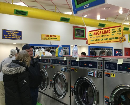 Waitingfor 60lb front load washing machines at Free Laundry Wednesday Event
