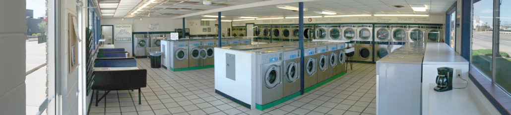 Panoramic view of inside Laundromania Coralville 24 hour Laundromat