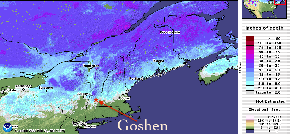 Snow cover on 2/23/2020