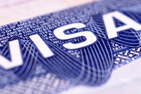 American visa document closeup