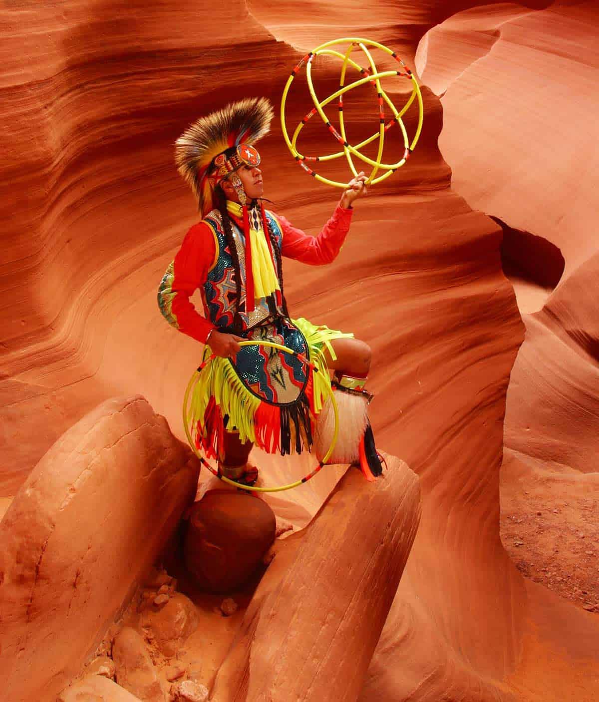 Brian Hammill World Champion Hoop Dancer at Lower Antelope Canyon Page Arizona