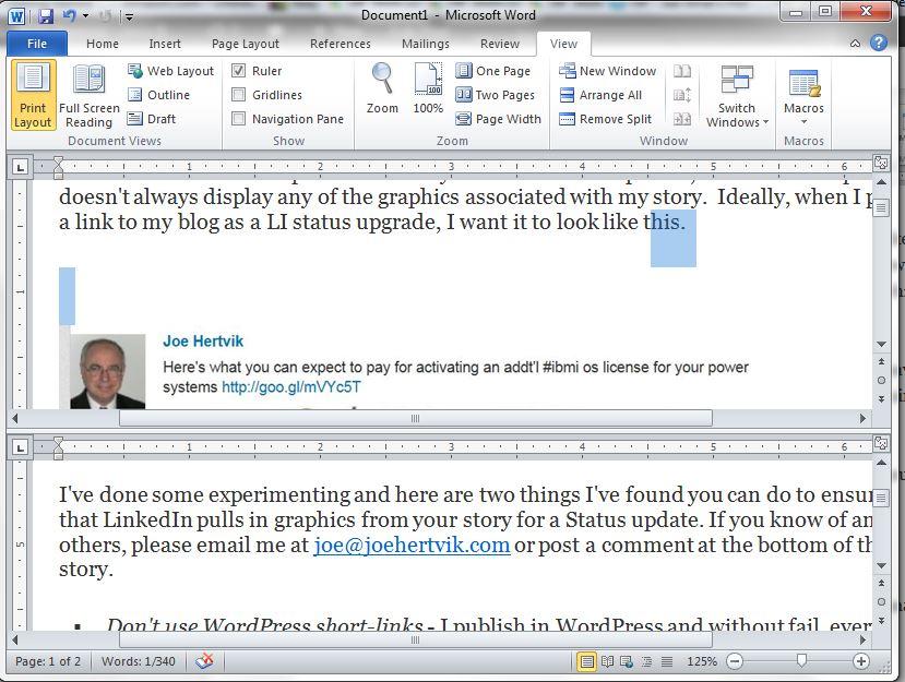 MS Word 2010 split screen view