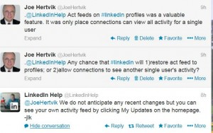 linkedin conversation about activity feed on 12-30-13