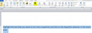 Find the Hyperlink button in the Links area of Word's Insert ribbon