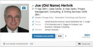 Joe Hertvik LinkedIn with former name