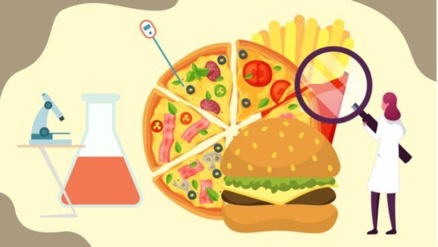 scientist examining multiple food items