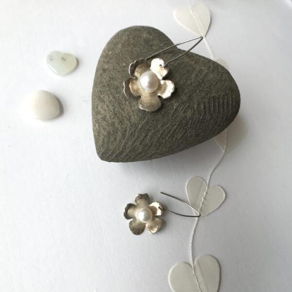 apple blossom sterling silver pearl earrings