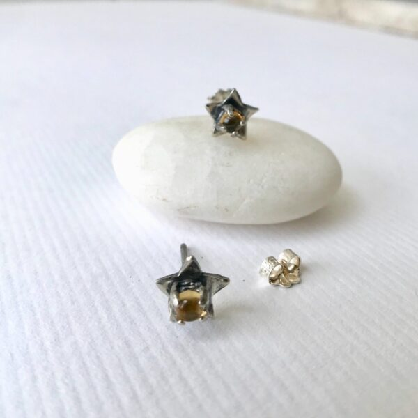 sterling Star studs with citrine