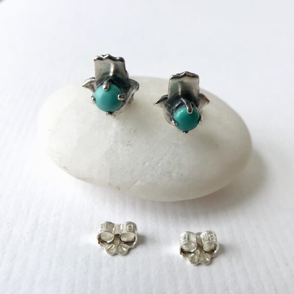 sterling and turquoise hamsa earrings