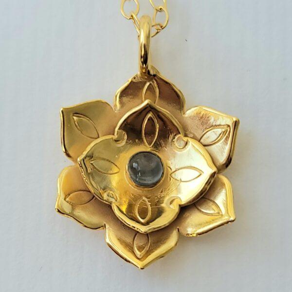 Lotus Mandala Blue topaz heavy 18k over sterling