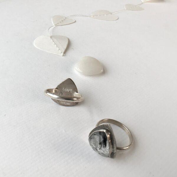 Divine Feminine Ring sterling silver tourmalated quartz