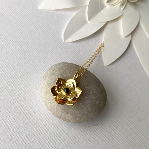 lotus mandala blue topaz pendant