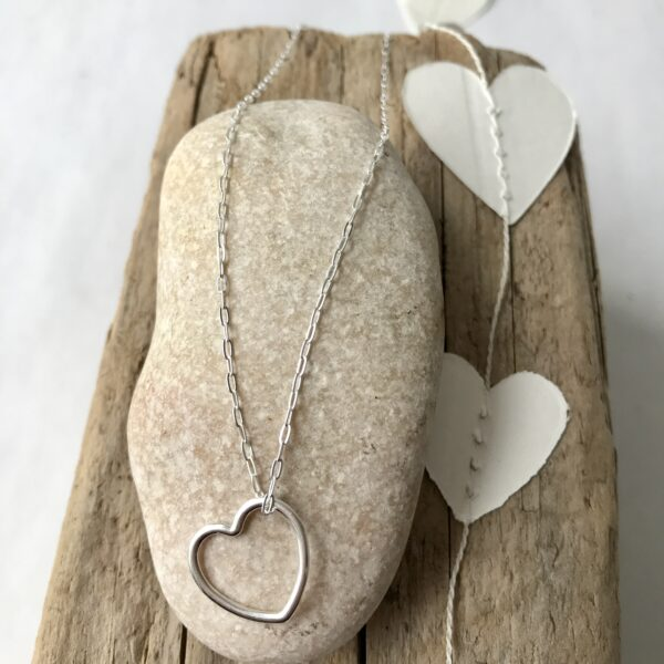 Add-on Floating Heart Necklace Sterling