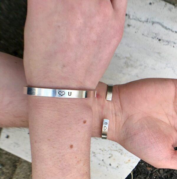 Uni-sex love you cuff bracelet sterling