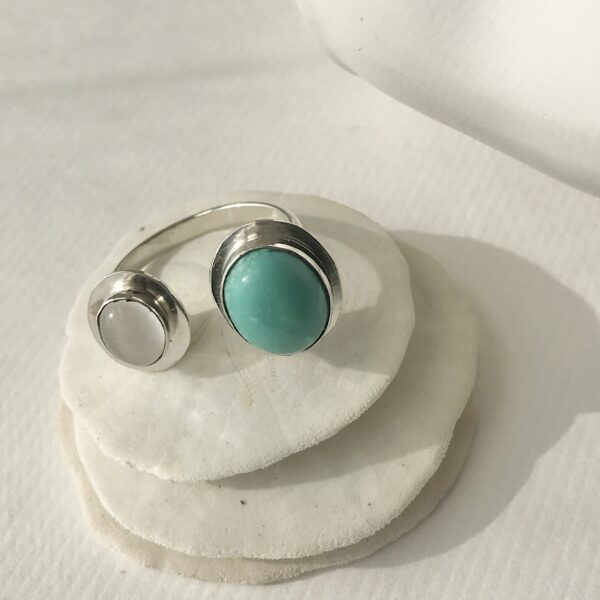 Double Stone Adjustable Ring - Jade & Moonstone, Sterling