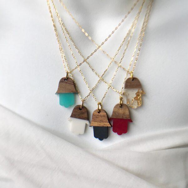 Rosewood resin Hamsa necklace sterling 18kt