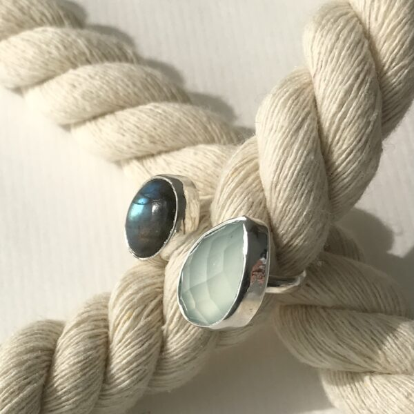 Double Sterling Ring with Blue Chalcedony and Labradorite