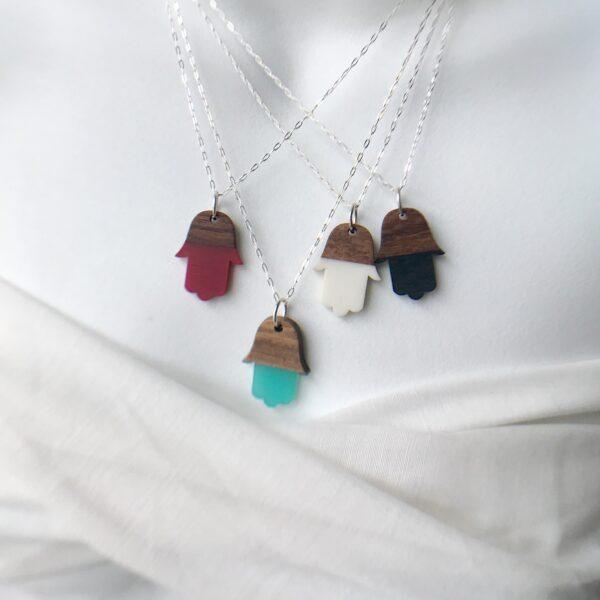 Rosewood resin Hamsa necklace sterling
