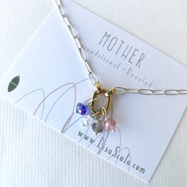 Mother's Necklace - 18kt over Brass, Sterling Silver, Swarovski Charm (sold individually)