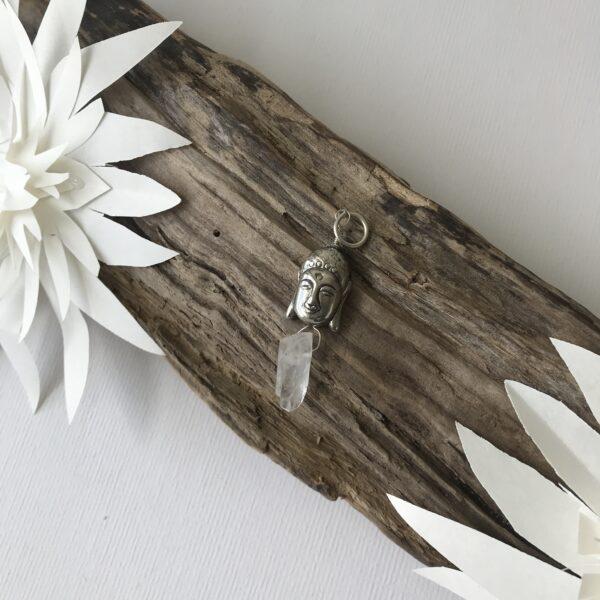 Silver Buddha & crystal charm - Silver